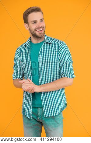 Kind Person. Cheerful Mood. Man Looks Handsome In Casual Style. Guy With Bristle Wear Casual Outfit.