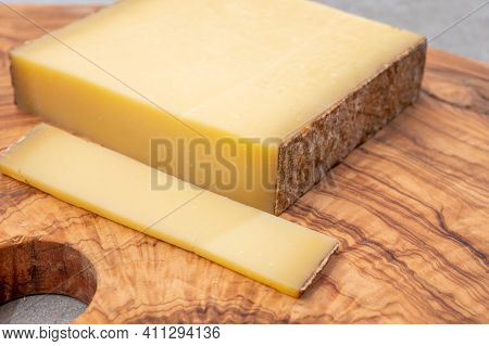 Cheese Collection, French Cheese Comte Made From Cow Milk In Region Franche-comte In France