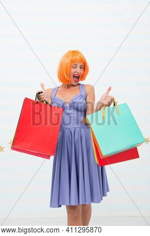 Happy Woman Go Shopping, Copy Space. Crazy Girl With Shopping Bags. Last Preparations. Big Sale In M