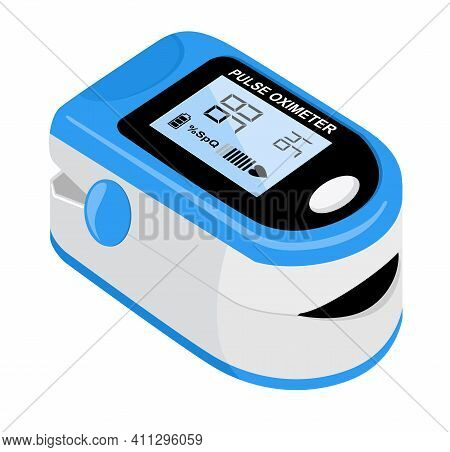 Pulse Oximeter Icon On The Median Finger For Measuring Oxygen In The Blood. Health Care For Blood Sa