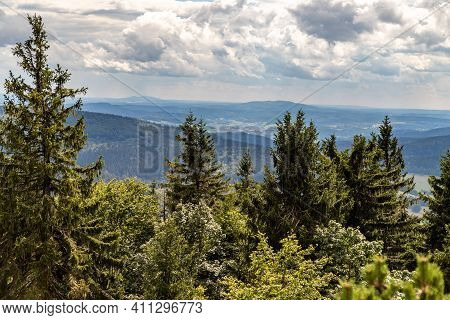 Scenic View From The Mountain Big Inselsberg Near The Rennsteig In Thuringia