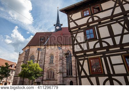 Half-timbered House And Church Saint Georg In Schmalkalden, Thuringia