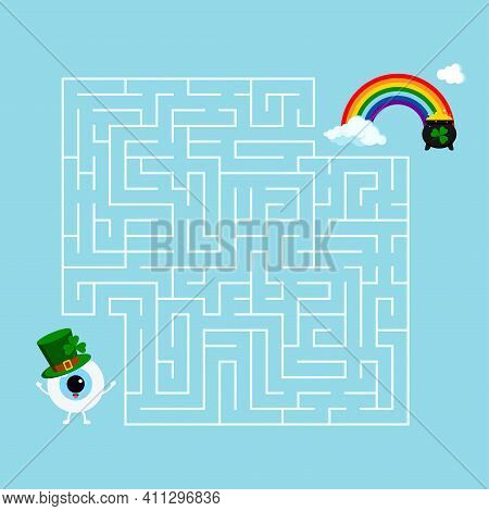 Saint Patrick Day Eye Ball Kids Maze Game. Help White Eyeball Boy In Leprechaun Hat To Find Right Wa
