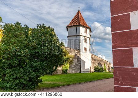 Outer Fortification Wall With Tower Of Wilhelmsburg Castle In Schmalkalden, Thuringia