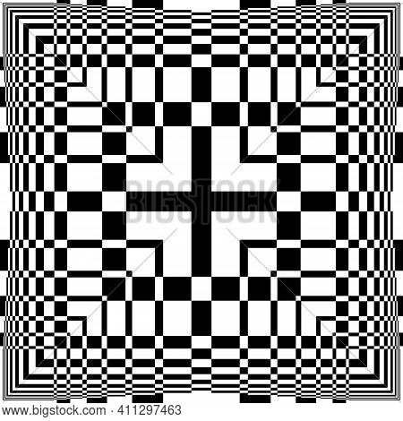 Abstract Fence Four Squares Too Like Illusion Arabesque Intersections Black On Transparent Backgroun