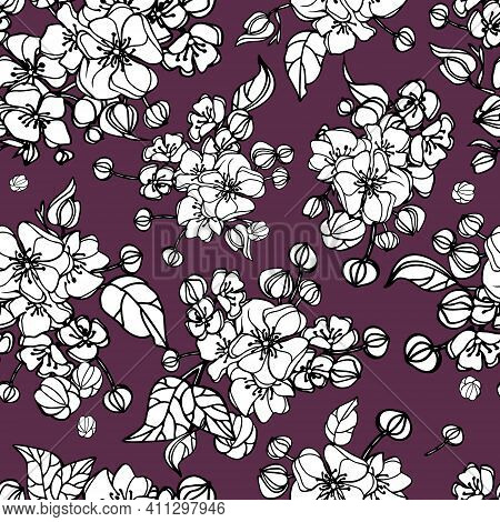 Vector Flower Seamless Pattern. Endless Repeated Texture With Flowers, Leaves, Branches. Repeating S