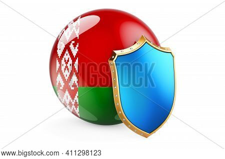 Belarusian Flag With Shield. Protect Of Belarus Concept, 3d Rendering Isolated On White Background