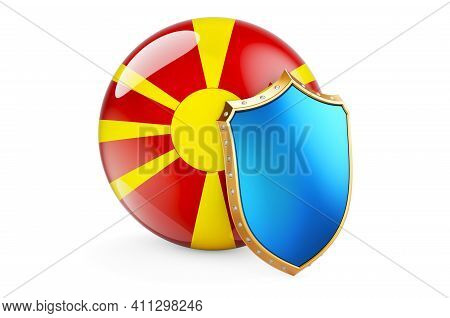 Macedonian Flag With Shield. Protect Of Macedonia Concept, 3d Rendering Isolated On White Background