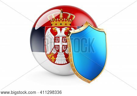 Serbian Flag With Shield. Protect Of Serbia Concept, 3d Rendering Isolated On White Background