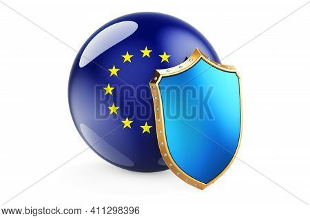 The European Union Flag With Shield. Protect Of The European Union Concept, 3d Rendering Isolated On