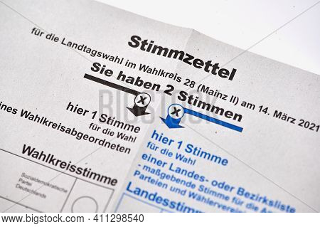 Mainz, Germany - March 06, 2021: Ballot Papers For Postal Voting. Voting For The Rhineland-palatinat