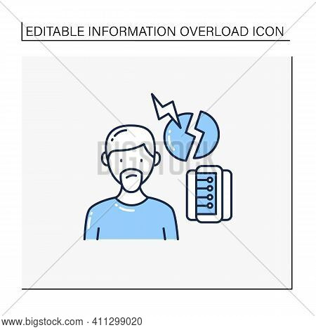 Fake Information Line Icon. Contradictions And Inaccuracies In Available Information. Information Ov