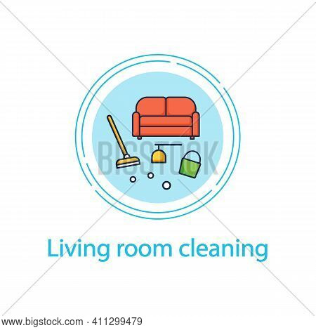 Living Room Cleaning Concept Line Icon. Home Cleanup. Sofa Dry. Clutter Cleanup. Mopping, Wiping, Du
