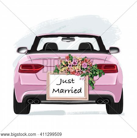 Wedding Car. Stylish Pink Car With Wedding Decoration. Just Married Board With Flowers.