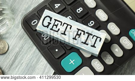 Get Fit Text On A Wooden Block, Wooden Background