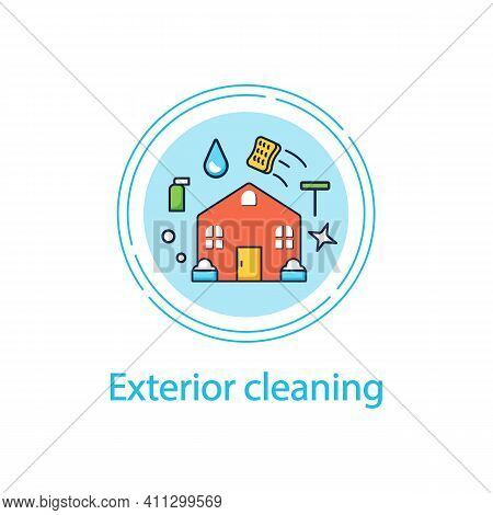 Exterior Cleaning Concept Line Icon. Additional Cleanup Service. Cleaning Team. Environmental Care.