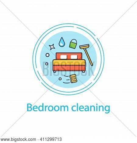 Bedroom Cleaning Concept Line Icon Home Cleanup. Bed Dry Cleanup. Mopping, Wiping, Dusting. Cleaning