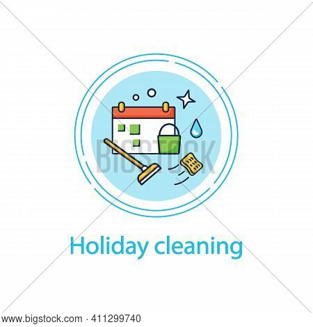 Holiday Cleaning Concept Line Icon Spring Cleaning. Sweeping, Wiping.cleanup Calendar, Schedule. Hou