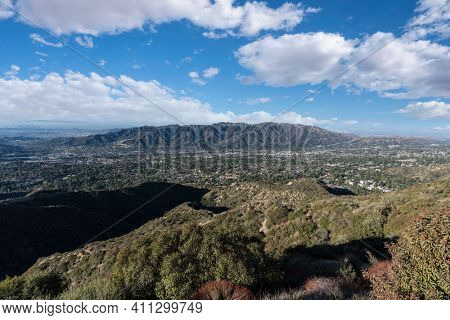 View towards La Crescenta, Montorse and Verdugo Mountain from Mt Lukens near La Canada Flintridge in Los Angeles County, California.