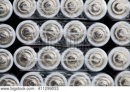 Macro Of Aaa Batteries In Their Plastic Packages