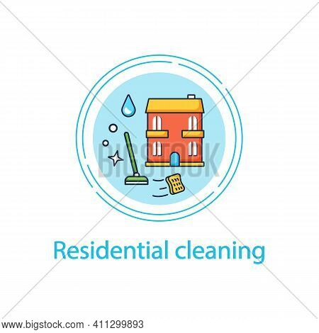 Residential Cleaning Concept Line Icon. Dirt Removal. Mopping, Sweeping, Wiping. Office Cleanup. Cle