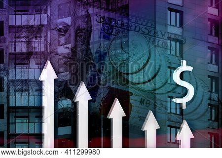 Down Arrows On Background Of Building Under Construction And Us Banknotes. Concept Of Reducing Cost