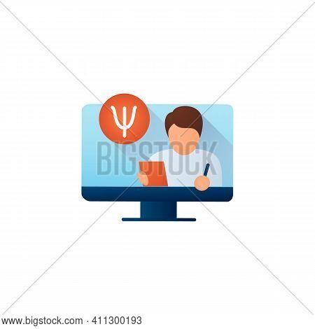 Online Psychiatry Flat Icon. Telehealth Medical Care. Virtual Psychiatrist Consultation. Telemedicin