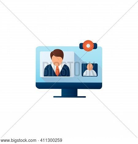 Video Telephony Flat Icon. Video Conference Call With Doctor. Telehealth Medical Care. Virtual Medic