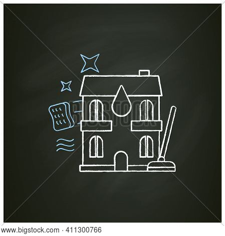Apartment Cleaning Chalk Icon. Sweeping Process In Flats, Including Washing Floor And Wiping Dust. C