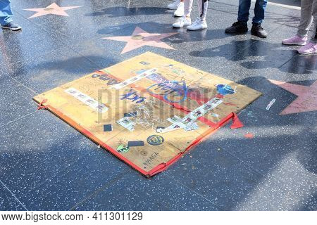 HOLLYWOOD, SEPT 2, 2018: Donald Trump Star on the Walk of Fame covered after is was defaced by vandals.