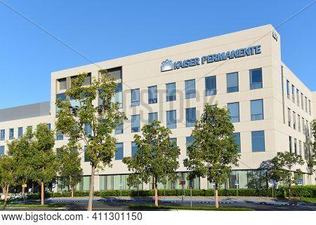 IRVINE, CALIFORNIA - 25 APRIL 2020: Kaiser Permanente's Irvine Medical Center hospital in Orange County.