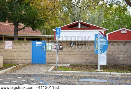IRVINE, CALIFORNIA - JANUARY 1, 2017:  Animal Care Center. The pet adoption center also provides sheltering, care and enrichment for homeless, neglected, abused or unwanted animals.