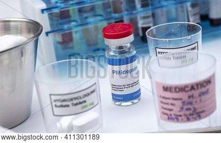 Vial With Antiviral Chemical Compound Plitidepsin, This Formulation Has A Much More Potent Antiviral