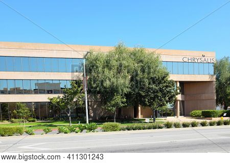 ANAHEIM, CALIFORNIA - 1 MAR 2021: Chrysalis Building. Chrysalis is a nonprofit organization dedicated to creating a pathway to self-sufficiency for homeless.