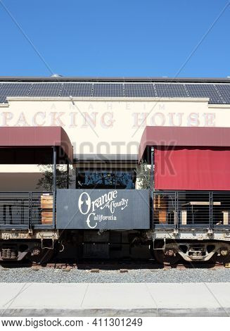 ANAHEIM, CALIFORNIA - 1 MAR 2021: Closeup of Rail Cars used for dining at The Anaheim Packing House gourmet food hall in the Anaheim Packing District.