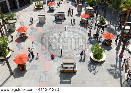 HOLLYWOOD - SEPT 2, 2018: Courtyard at the Hollywood and Highland Center shopping mall and entertainment complex at Hollywood Blvd and Highland Ave