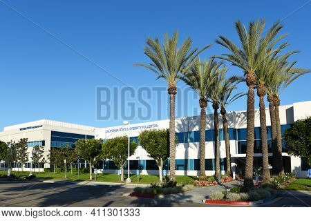 IRVINE, CALIFORNIA - 25 APRIL 2020: Tthe Irvine campus of the California State University Fullerton and The Western State College of Law.