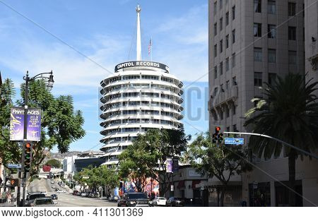 LOS ANGELES - NOVEMBER 24, 2017: Capitol Records Building. A Los Angeles Historic-Cultural Monument, located just north of the Hollywood and Vine intersection.