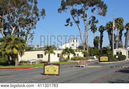 DANA POINT, CA - DEC 1, 2017: DANA POINT, CA - DECEMBER 1, 2017: Doheny State Beach entrance. The beach is a popular surf spot with Volleyball courts, picnic areas and campground.
