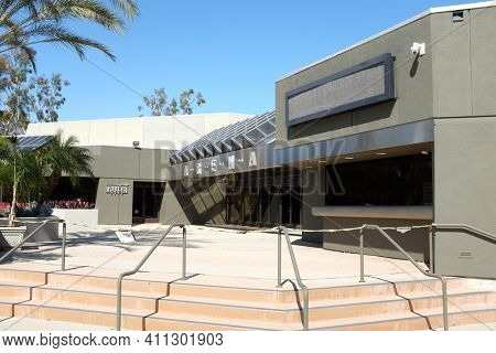 ANAHEIM, CALIFORNIA - 1 MAR 2021: Closeup of the River Arena, The River Church is a Hispanic Ministry in Downtown Anaheim.