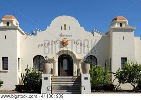 ANAHEIM, CALIFORNIA - 1 MAR 2021: The Anaheim Packing House gourmet food hall in that along with the Packard Building, and a farmers market, make up a center called the Anaheim Packing District.