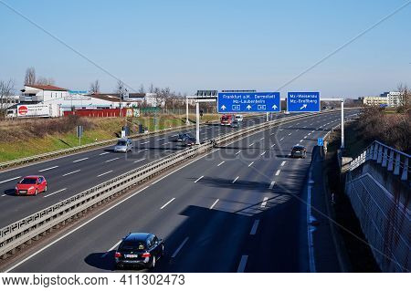 Mainz, Germany - February 21, 2021: Low Traffic On German Highway A60 With Direction To Frankfurt A.