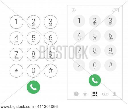 Phone Dial Number Keypad Screen Mobile Call. Dial Keypad Smartphone Vector Ui Template