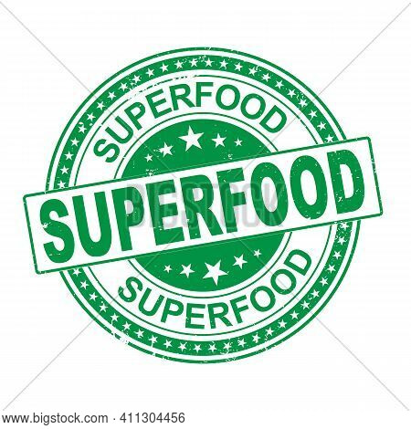 Grunge Rubber Stamp Superfood, Vector Illustration On White