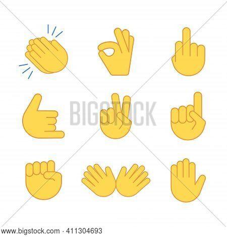 Emoji Hand Applause Emoticon Thumb Clap Icon. Applaud Fist Goodbye Vector Symbol