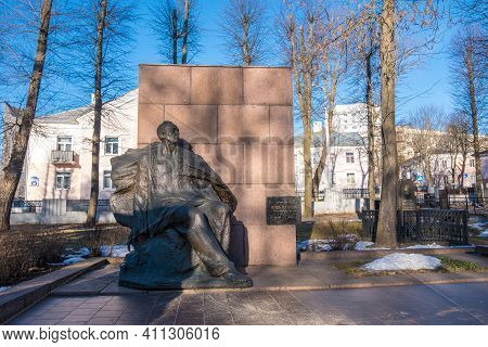 Minsk, Belarus - March 6, 2021: Monument On The Grave Of The Famous Belarusian Poet Yanka Kupala At