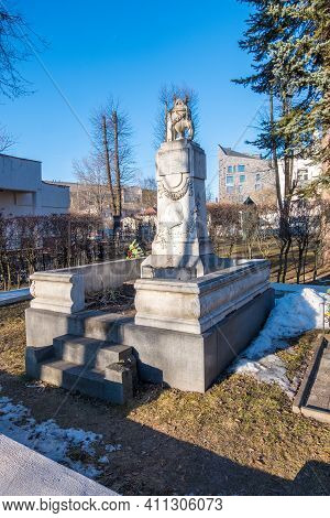 Minsk, Belarus - March 6, 2021: Grave Of Maria Mitskevich, Wife Of Yakub Kolas At The Military Cemet