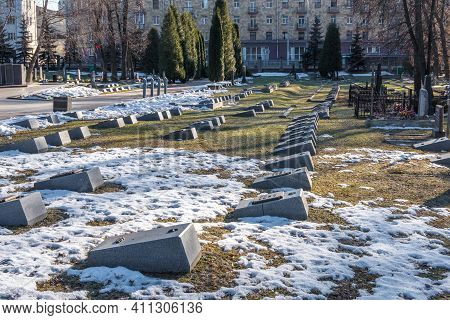 Minsk, Belarus - March 6, 2021: Monuments And Graveyard Tombstones To The Fallen Belarusian Heroes A