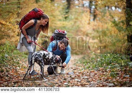 Young couple hiking with dog in forest at autumn