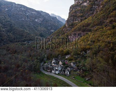 Aerial Panorama View Of Charming Historic Village Hamlet Ritorto With Rustico Architecture Stone Roc